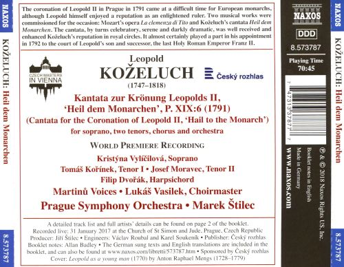 Leopold Koželuch: Cantata for the Coronation of Leopold II; 'Hail to the Monarch'